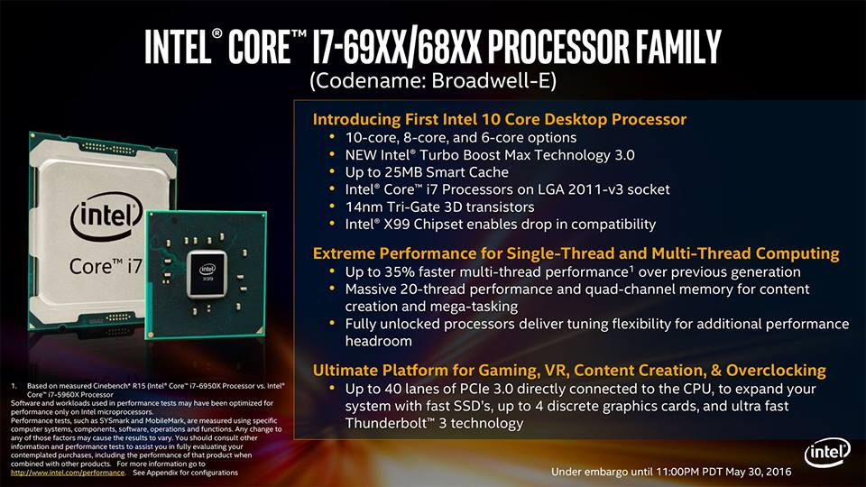 Intel Broadwell E Feature List