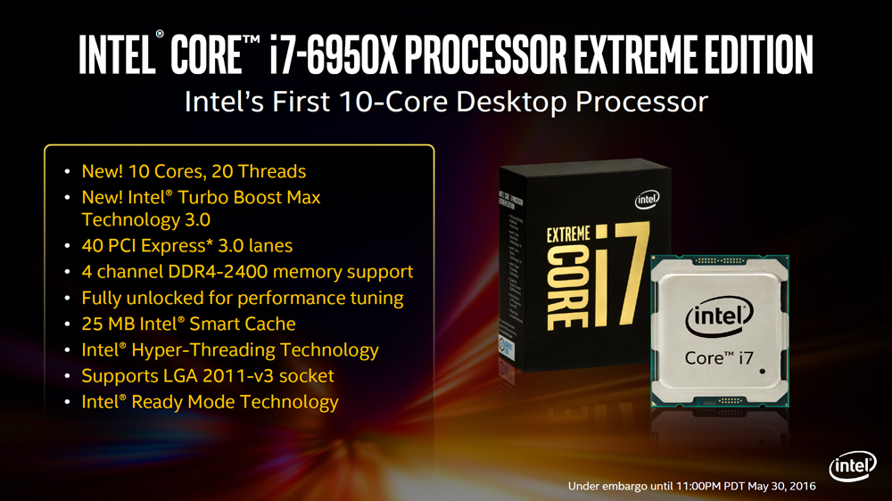 Intel Core i7 6950X Extreme Edition Processors