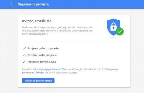 Google poklanja 2 GB za sigurnosnu provjeru računa